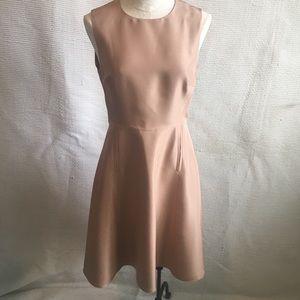 LK Bennett Tan Brown 100% Silk Midi Dress